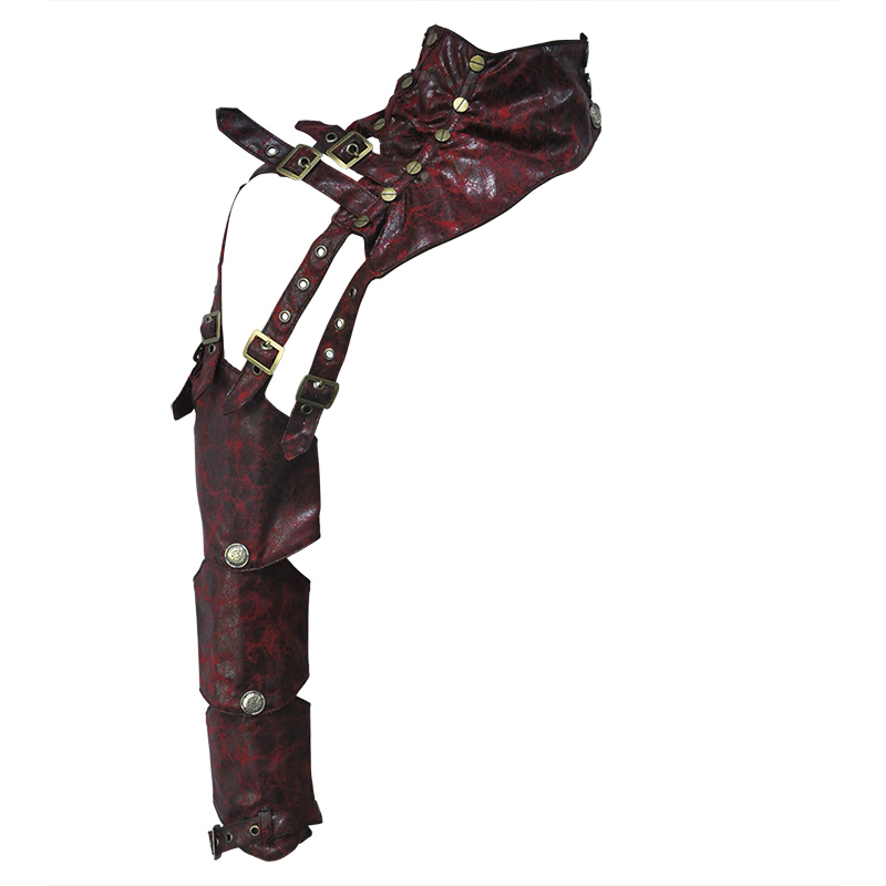 Red Leather Buckle Shoulder Long Sleeve Vintage Steampunk Arm Armor Gothic Arm Sheath Women Sexy Corset Burlesque Accessories