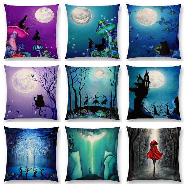 Alice Sogni Cute Cat Magica Notte di Luna Paese Delle Meraviglie Smeraldo Forest