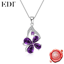 EDI Purple Amethyst Lucky Four Leaf Clover Flower Pendant Necklace for Women 925 Sterling Silver Gemstones Box Chains Necklace