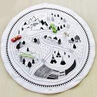 Esteira do Jogo do bebê Acolchoado Cobertor Rastejando Crianças Pista Puzzle Carro Crianças tapete de Jogar Jogos de Corrida De Algodão Rodada Tapete Playmat Crawl Mat