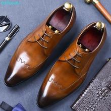 QYFCIOUFU Luxurious Italian Genuine Leather Men Black Khaki Wedding Oxford Shoes Lace-Up Office Business Suit Mens Dress Shoe