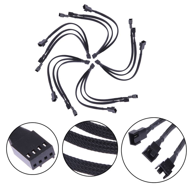 Sleeved 1 To 3 4-Pin Extension Cable 1 To 3 Ways 4-pins CPU PWM Case Cooling Fan Splitter Hub Power Fan-out Adapter Cable 1pcs