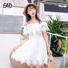 EAD Women Sexy Off Shoulder Dress White Summer Elegant Lace Sleeveless Sundress for Female Casual High Waist Slash Neck Vestido