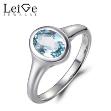 Leige Jewelry Natural Blue Aquamarine Ring Vintage Ring Oval Cut Gemstone 925 Sterling Silver March Birthstone Solitaire Ring