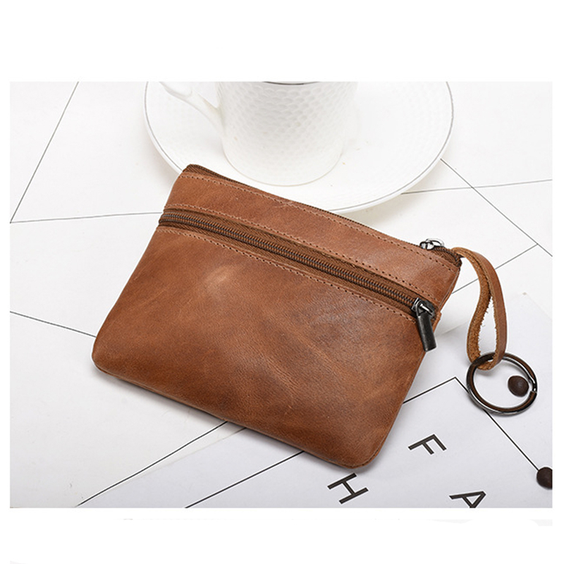 Leather Mini Wallet Unisex Short Type Leather Zipper Driver's License Wallet Multi-card Position Credit Card Coin Wallet Holder