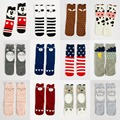 Soft Cotton Kawaii Girls Boys Sock Striped Geometric Catoon Pattern Kids Socks Baby Long Socks Children Christmas Gift Socks