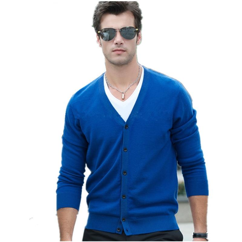Cardigan pour homme col en v simple boutonnage manches longues couleur uni mince laine vêtements Style décontracté hommes chandail MKS01