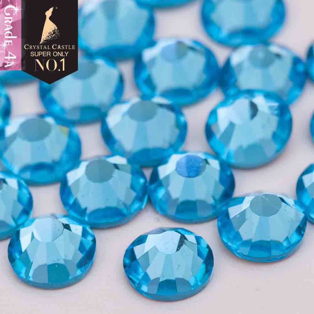 Crystal Castle 4A glass flatback rhinestone Aquamarine non hot fix crystal none glue no hotfix strass rhinestones for nail art