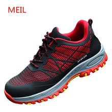 Mens Breathable Work Safety Shoes for Men Lightweight Anti-smashing Anti-Puncture Insulation Male Boots Sneakers