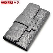 Zooler 2017 frau echter mode leder brieftaschen überlegene rindsleder lange brieftasche klassische stilvolle geldbörse für damen #5315
