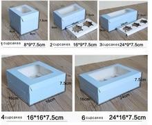 Large Brown Muffin packaging 6 cupcake boxes 8,Kraft paper gift cake box with pvc window, 4 cupcake packing craft box blue