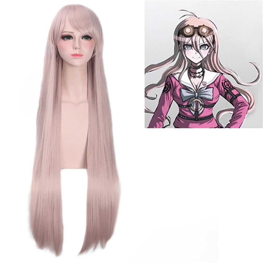 Cosplay Danganronpa V3: Killing Harmony Iruma Miu Wig 80cm Long Straight Wig for Anime Costume Party Wig Game Halloween Hiart