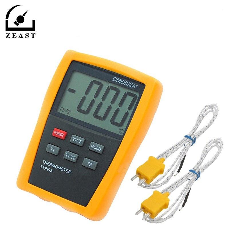 Scientific Digital Thermometer 2K Type Temperature Sensor HVAC Hygrometer Tool Measurement Analysis Instruments