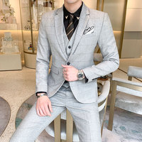 (Jacket + Pants + Vests) Four Seasons New Fashion Men's Wild Business Tuxedos Casual Youth Trends New Wedding Plaid Suits
