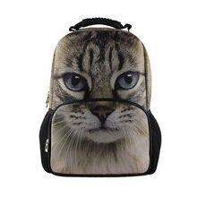 Высокая 2017 Большой Женщины Рюкзаки Дизайнер Cute Cat Печати Рюкзак Девушки Школа Рюкзаки женская Холст Ноутбук Backbag