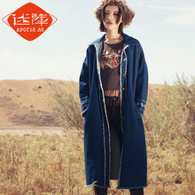 [Aporia.AS] original 2016 winter coat loose retro thin embroidery denim jacket female MZ07089