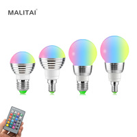 E27 E14 LED Bulb 5W 7W RGB 16 Color Changeable LED Lamp 110V 220V RGB LED Light Bulb Spotlight With IR Remote Control Home Decor