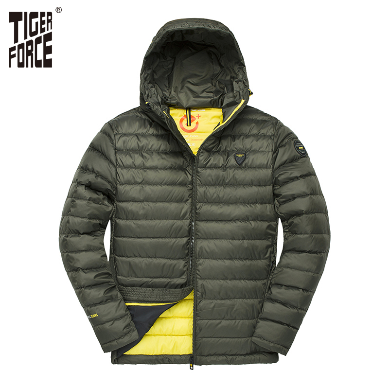220892c63f76 TIGER FORCE Men Hooded Jacket Fashion Spring Winter Cotton Padded Jackets  Solid Color Casual Parka Male