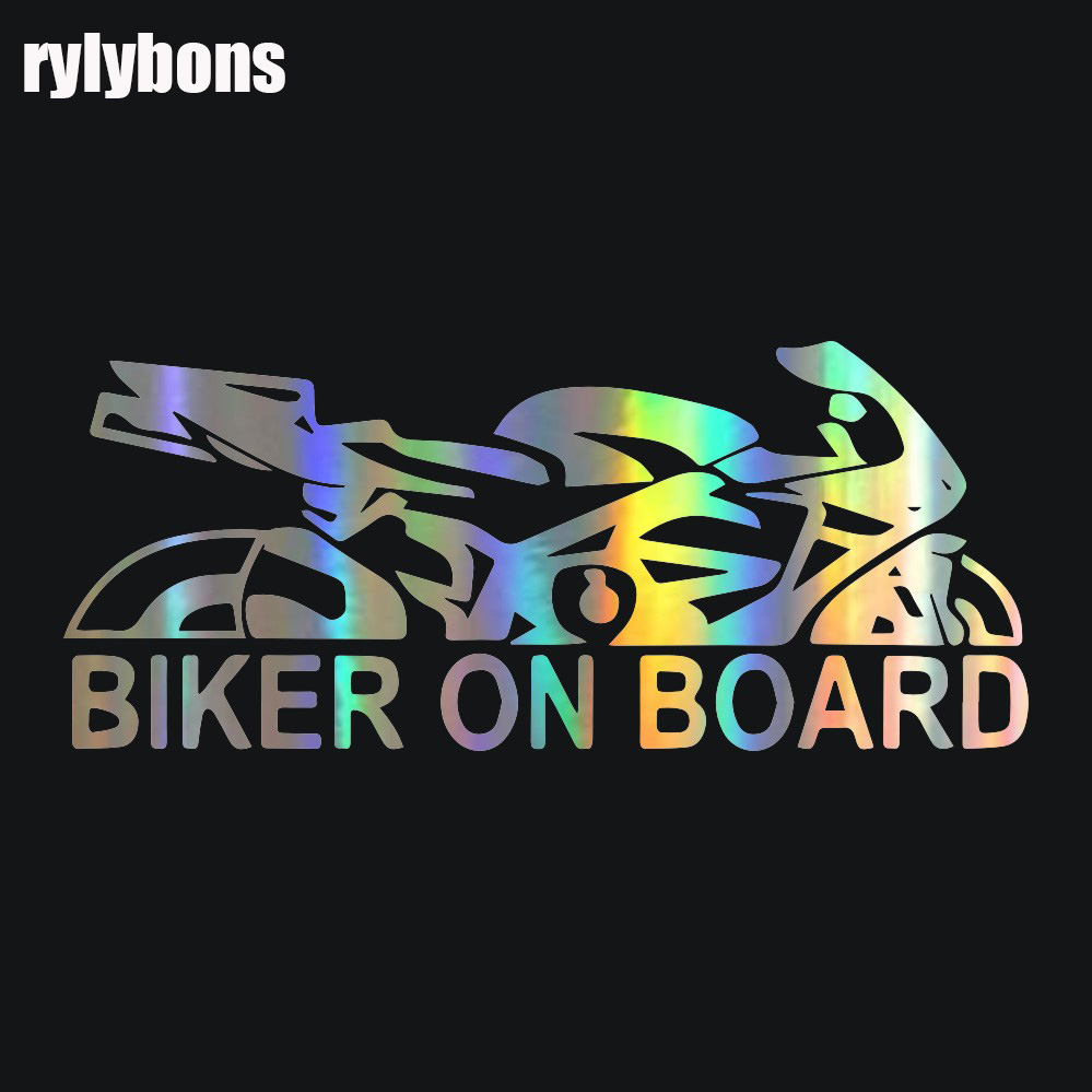 rylybons full body car sticker anime Car Sticker Biker on Board 17.9*7.6cm Vinyl car stickers and decals styling accessories 16 strips motorcycle accessories 7 colors car styling decals 17 or 18 inch car stickers wheel rim sticker reflective tape