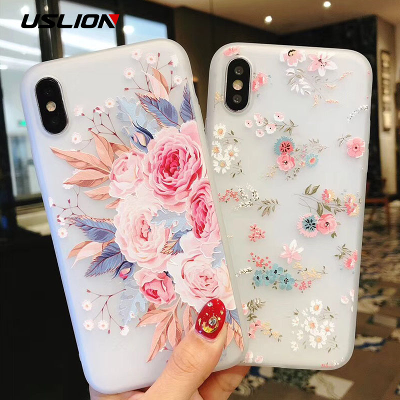 USLION Flower Silicon Phone Case For iPhone 7 8 Plus XS Max XR Rose Floral Cases For iPhone X 8 7 6 6S Plus 5 SE Soft TPU Cover jeans texture leather coated pc tpu mobile cover for iphone 7 plus grey