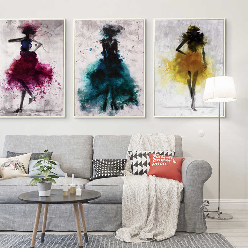 Modern Dance Dress Girl Watercolor Abstract Canvas Painting Wall Art Print Poster Picture Decoration Modern Home Wall Sticker