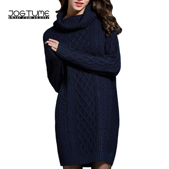 a1b8eeb4402 JOGTUME Winter Sweater 2017 New Autumn Womens Fashion Turtleneck Knitted  Dress Long Sleeve Ladies Knitting Pullovers Navy White