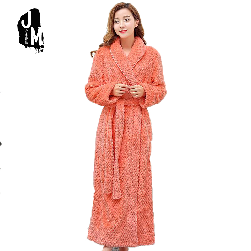 Bath Robe Female Lovers Coral Fleece 9 Colors Night Gown Spa Bathrobe Unisex Bath Robe Women Long Sleeve Kimono Womens Gowns ...
