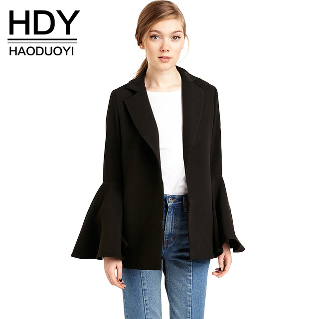 HDY Haoduoyi Fashion Single Button Coats Women Long Sleeve Slim Female Outwear Brief Syle Turn-down Collar Solid French Coats