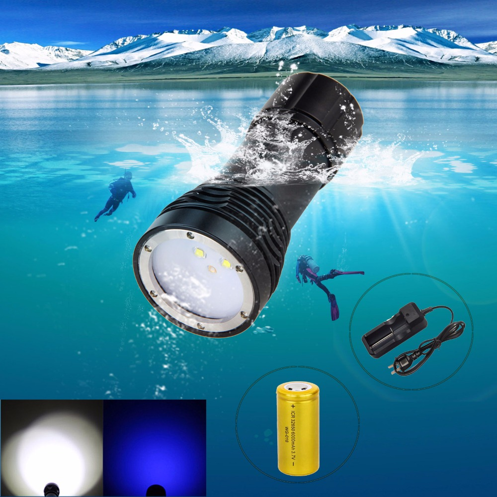 4000lm 4* XM-L2+2*Blue LED Photography Video Diver Lamp SCUBA Diving Flashlight Light Torch +32650 Battery + Charger waterproof ultraviolet diving light 3x uv led lamp diving flashlight scuba torch dive lanterna pcb 26650 battery eu charger