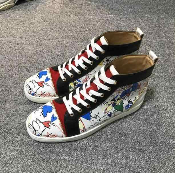 Mixed Colors Graffiti Leather Men Fashion Vulcanized Shoes Suede Leather  Patchwork Gentleman Flat High Tops Casual be76b8b6894a