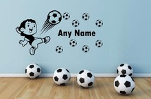 Free Shipping Personalised English name Football little boy Vinyl Wall Sticker Home Decor  Art Decals Mural