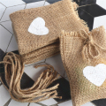Wedding Heart Pattern Jute Drawstring Pouches Party Supplies |Hemp Packet Sack Small Gift Bags