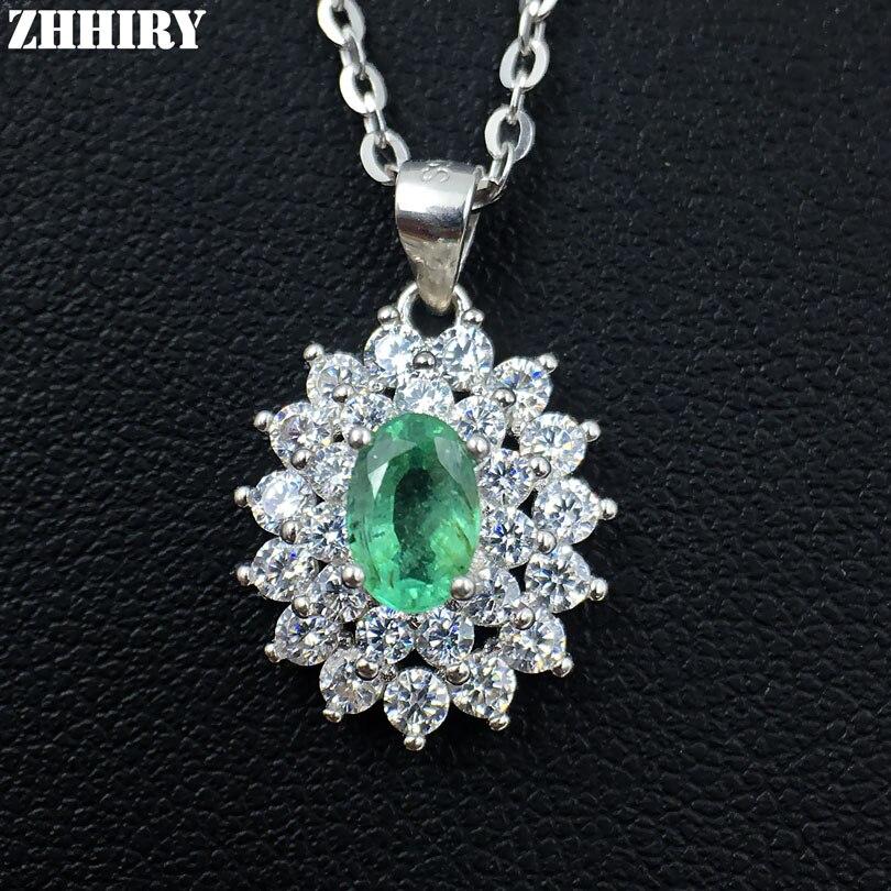 ZHHIRY Natural Emerald Necklace Genuine 925 Sterling Silver Gemma Preziosa Naturale Pendente Della Pietra Preziosa Gioielleria Dirthstone-in Ciondoli da Gioielli e accessori su  Gruppo 1