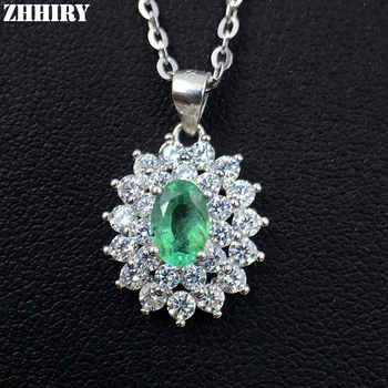ZHHIRY Natural Emerald Necklace Genuine 925 Sterling Silver Precious Gem Natural Gemstone Pendant Fine Jewelry Dirthstone - DISCOUNT ITEM  35% OFF All Category