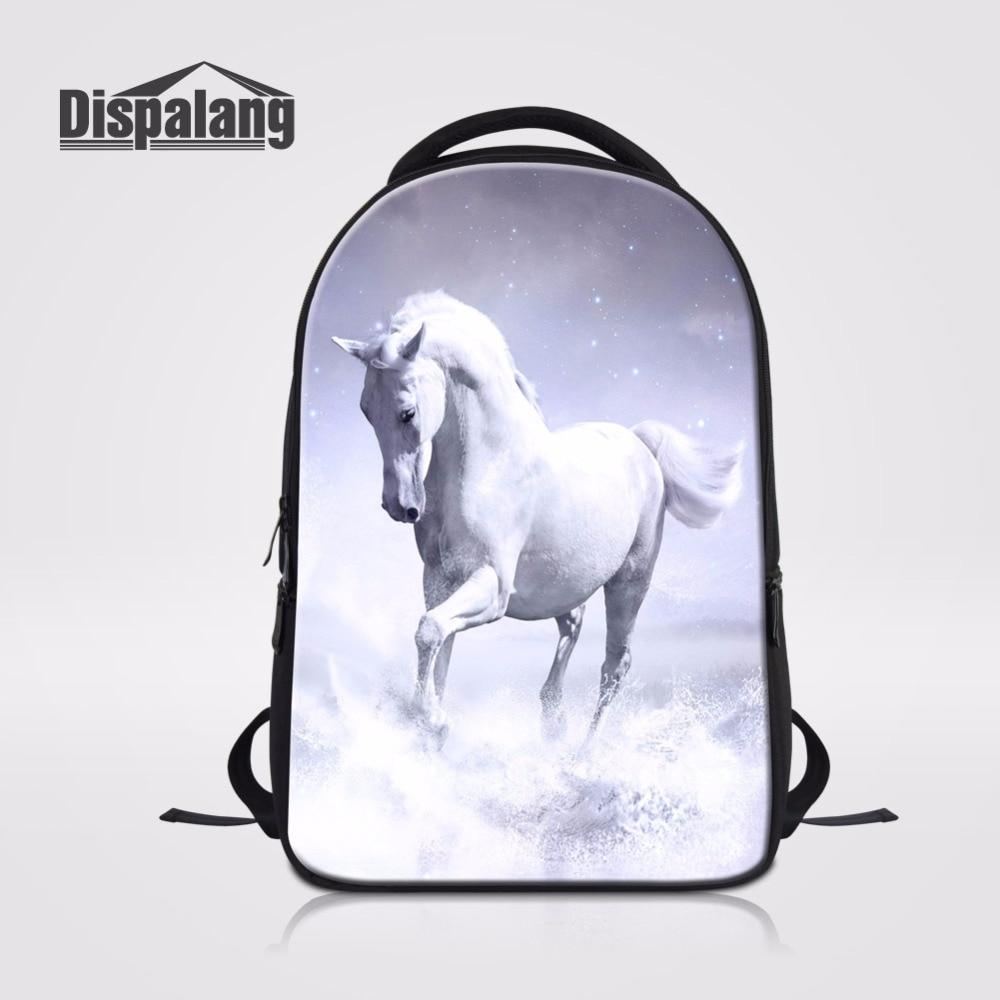 Dispalang White Horse Animal Custom Backpack Stylish Teenager School Bags Practical Laptop Bagpack Casual Computer Back