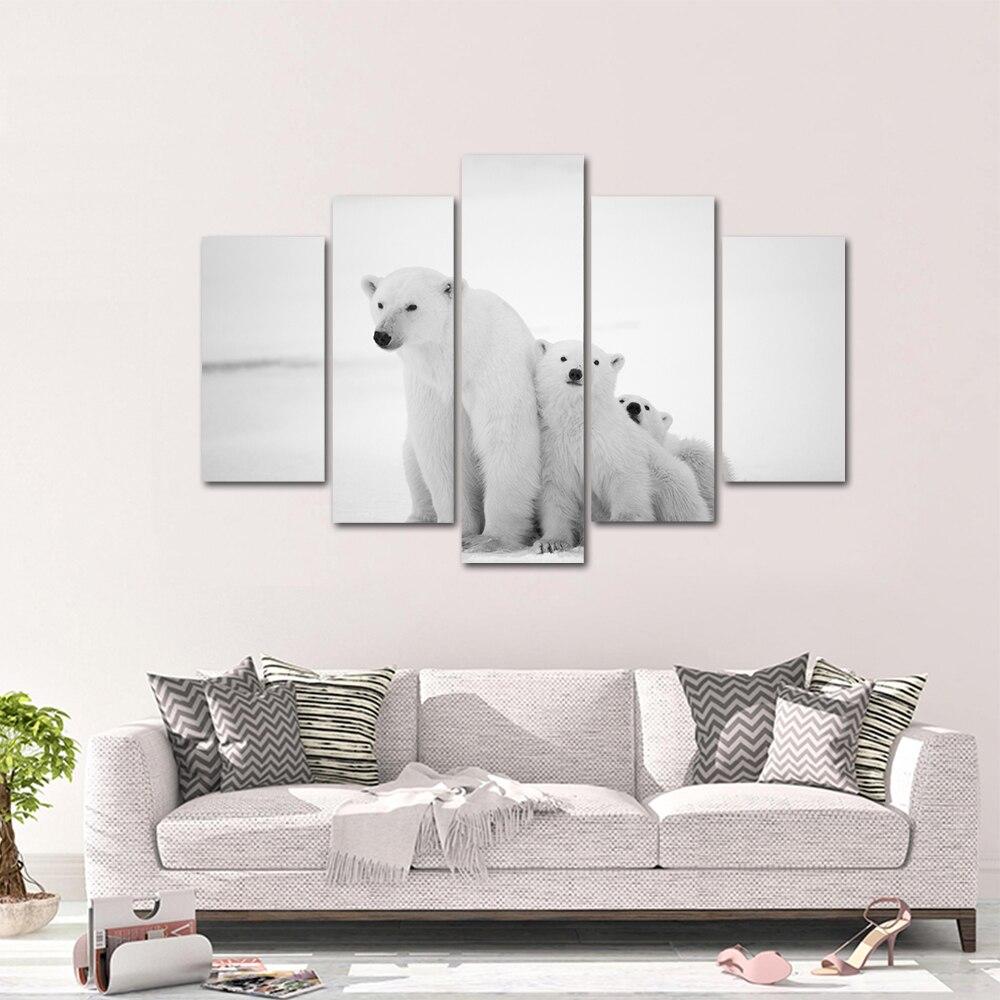 Unframed HD Print 5 Canvas Art Painting Polar Bear Living Room Decoration Spray Painting Mural Unframed Free Shipping