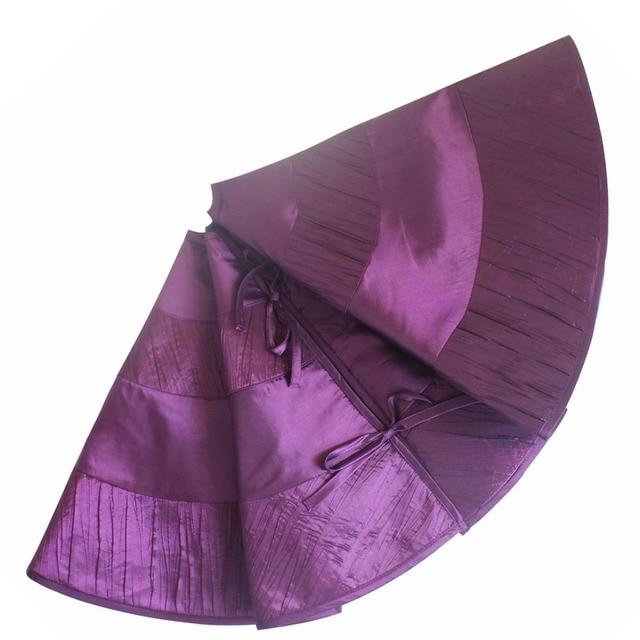 free shipping purple pleat faux silk patchwork christmas tree skirt 90cm p2854