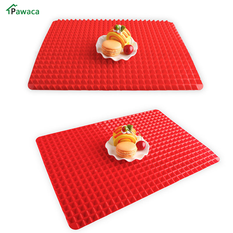 Pyramid type Silicone High Strength Flexibility BBQ Grill Mat Set Microwave Oven Baking Lining Heat Non Sticky Barbecue Pad Tool