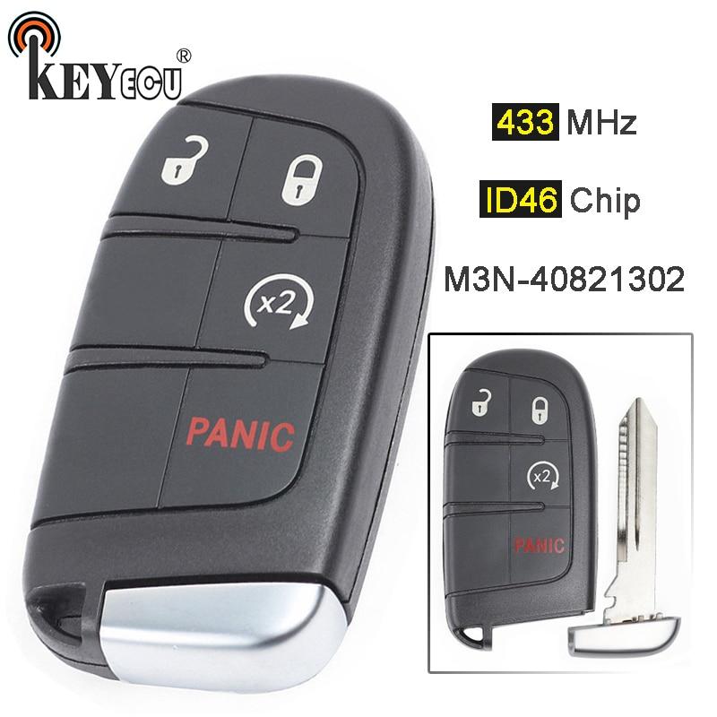 KEYECU 433 МГц ID46 чип M3N-40821302 68066350 3 + 1 4 кнопки дистанционный смарт ключ-брелок для Dodge Durango 2014-2019 путешествие 2011-2019