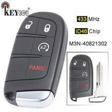 Keyecu 433mhz id46 chip M3N-40821302 68066350 3 + 1 4 botão inteligente remoto chave fob para dodge durango 2014-2019 viagem 2011-2019