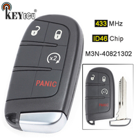 KEYECU 433MHz ID46 Chip M3N 40821302 Replacement 3+1 4 Button Smart Remote Key Fob for Dodge Durango Journey 2014 2018