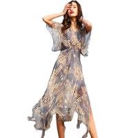 100% шелк платье Женский 2018 бутик летнее пляжное платье высокого качества с принтом платье из двух частей WF076