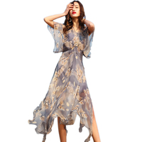 100% silk dress female 2018 Boutique summer beach dress high quality printed two piece dress WF076