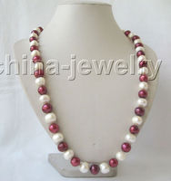 FREE Shipping 30 10 11mm Natural White Red Round Freshwater Pearl Necklace 14k Gold Filled 6