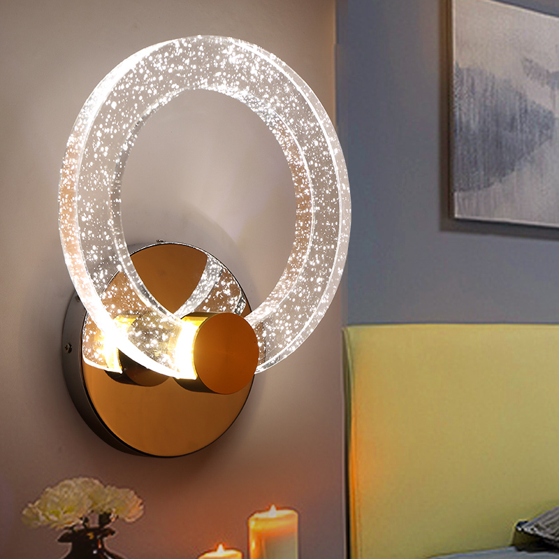 Ring crystal LED wall lamps bedroom bed simple modern creative personality entrance corridor  living room wall lightsFG143 lo102 modern fashion creative k9 crystal wifi design led 9w wall lamp for living room bedroom aisle corridor bathroom 80 265v 2063