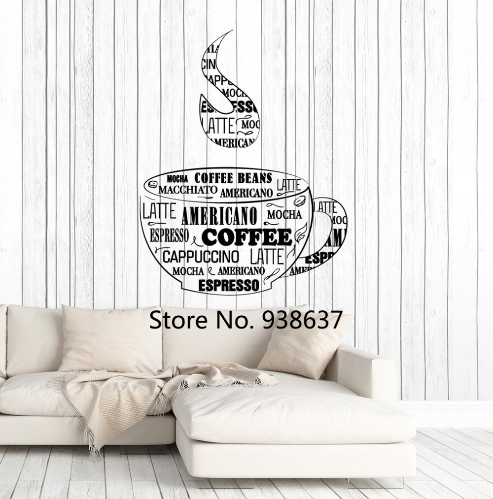 Creative Vinyl Wall Decal Coffee Cup Shop Words Kitchen Dining Room Decoration Art Stickers Home Decor Living Room Decals ZB012 ...