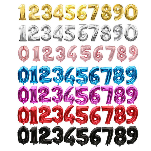 Multicolor Number Shaped Balloon 10 pcs Set