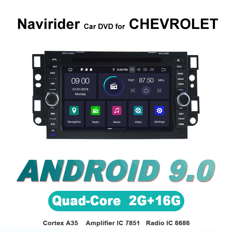 Autoradio navigation gps Navirider android 9.0 lecteur d'autoradio pour CHEVROLET AVEO EPICA CAPTIVA SPARK SILVERADO dvd stéréo