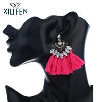 XIUFEN Metal Tassel Bohemian Earrings 5 Colors Ear Stud Graceful Jewelry For Women Girl Christmas Gift zk30