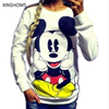 2016 Fashion New European Mickey Printing Sweatshirt Hoodies Long Sleeve Loose Women Crewneck Size S XL